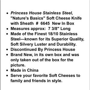 Princess House Kitchen - 💕SOLD💕6645 Princess House SS Soft Cheese Knife